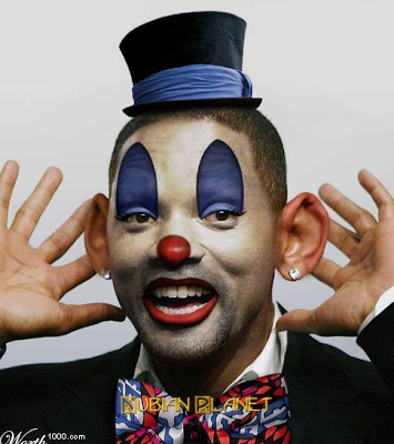 silly black person dressed up in clown face